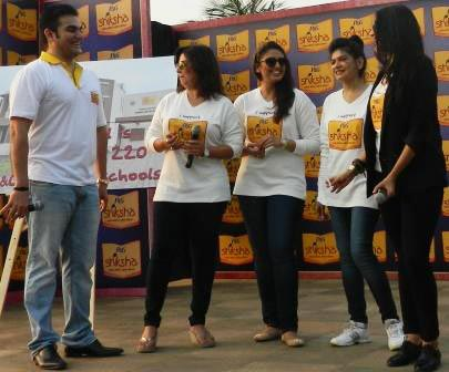 Anjali Mukerjee, Farah Khan, Arbaaz Khan, Neha Dhupia and Huma Qureshi participate in the P&G Shiksha rally to bring education to underprivileged children.