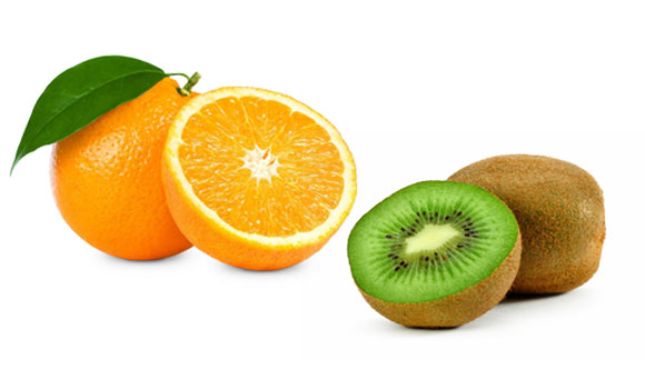 Citrus fruits like orange and kiwi are good for skin